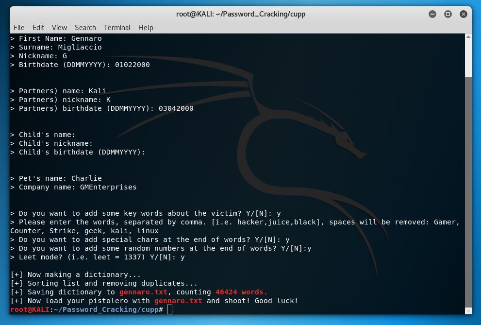 Common User Password Profiler (CUPP) – Gennaro Migliaccio